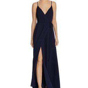WAYF Arabella Navy Blue Maxi Wrap Dress NWT